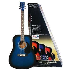 Martin Smith W-500 Acoustic Guitar Pack - Blue with built-in electric guitar tuner £44.98 + £5.00 del. @ TescoDirect