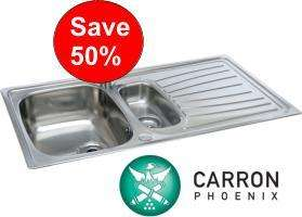 Carron Phoenix Precision 150 1.5 bowl stainless steel sink - £49.99 @ TheBIGKitchencentre.com