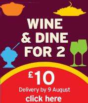 Wine and dine for 2 for £10 @ Sainsbury's