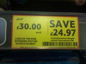 Lord of The Rings Extended BluRay - £30 Tesco Instore