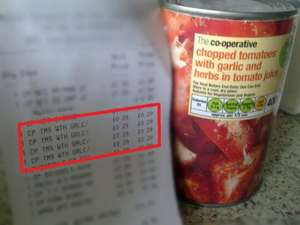 co--operative chopped tomatoes with garlic and herbs in tomato juice 29p