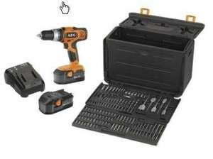 AEG 18v 2x Ni Cad battery Combi Drill With 100 Piece Accessory Kit @ B&Q £59