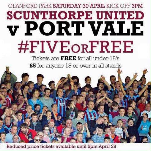 cheap football tickets Scunthorpe v port vale £5