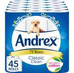 Andrex Classic Clean Toilet Roll Tissue Paper - Pack of 45 Rolls £14.25 Subscribe & Save @ Amazon