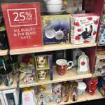 25% off all beauty and the beast gifts instore at Clintons