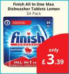 Finish All in One Max Dishwasher Tablets (Lemon) (34) ONLY £3.39 @ Savers