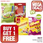 Skittles Crazy Sours / Fruits (125g) / Starburst Fruity Chews / Strawberry (150g) buy 1 get 1 free £1.00​ @ Premier Food Stores