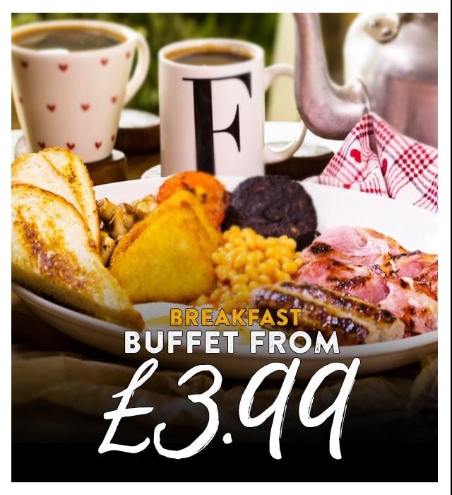 Farmhouse Inns  Weekend buffet breakfast inc bottomless coffee or tea from £3.99