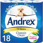 Andrex Classic Clean Toilet Roll 18 x 2 ply rolls (Family Pack) was £8.75 now £6.00 (Rollback Deal) @ Asda & Morrisons