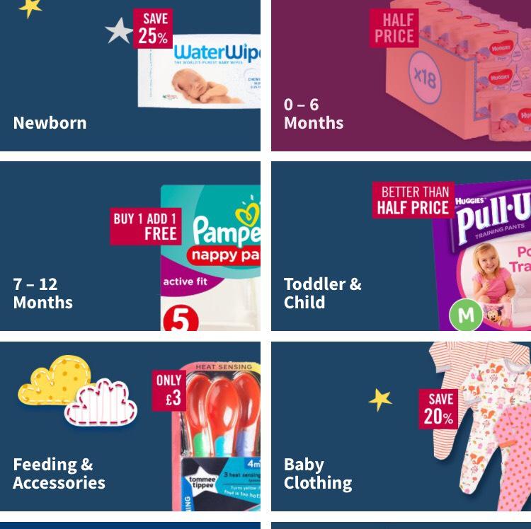 Ocado baby event now Live online bogof selected pampers / half price selected huggies