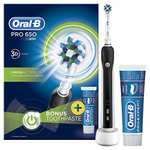 Oral-B Pro 650 Black Cross Action Electric Rechargeable Toothbrush and Toothpaste £19.99 @ Amazon