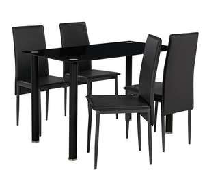 Hygena Flynn Leg Glass Dining Table Patru Chairs
